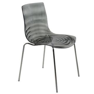 LeisureMod Astor Black Plastic Chrome Base Dining Side Chair