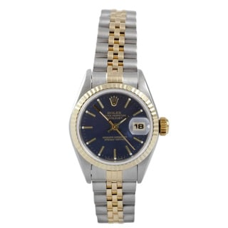 Pre-Owned Rolex Women's Two-tone Datejust Blue Dial Watch