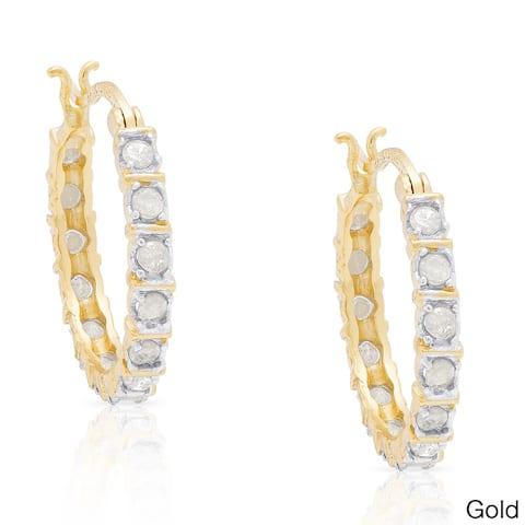 Finesque Sterling Silver 1/3ct TDW Diamond Hoop Earrings