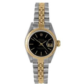 Pre-Owned Rolex Women's Two-tone Datejust Black Dial Bracelet Watch