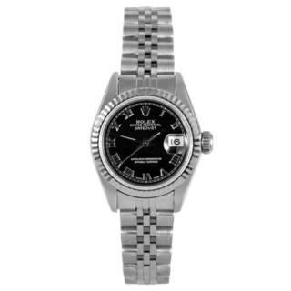 Pre-Owned Rolex Women's Stainless Steel Datejust Black Dial Watch