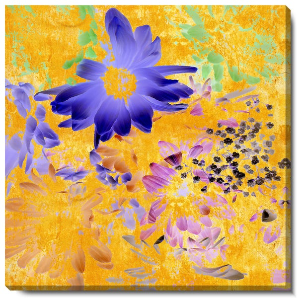 Studio Works Modern 'Blue Daisy Cups' Fine Art Gallery Wrapped Canvas