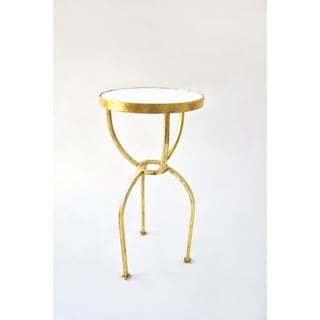 Handmade Gold Leaf Granite Top Round End Table