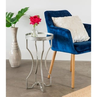 Luxe Leaf Finished Metal End Table with Mirrored Top