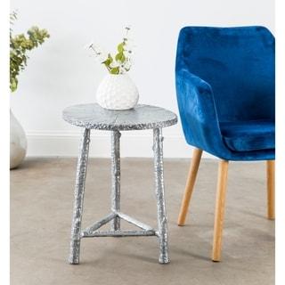Handmade Patina Cast Aluminum End Table (India)