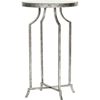Old World Round Metal and Mirrored End Table