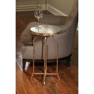 Gold Leaf Mirrored Top Round Metal Accent Table