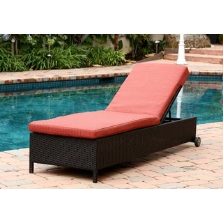 ABBYSON LIVING Ventura Outdoor Black Wicker Chaise Lounge with Cushion