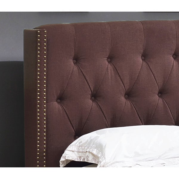 Abbyson Madison Chocolate Linen Nailhead Trim Wingback Bed   Free Shipping  Today   Overstock.com   16437739