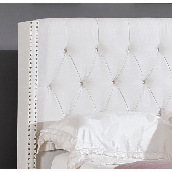 Abbyson Madison Ivory Linen Nailhead Trim Wingback Bed   Free Shipping  Today   Overstock.com   16437740