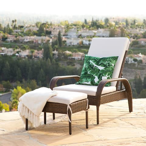 Abbyson Outdoor Palermo Wicker Chaise Lounge Ottoman Set with Cushion