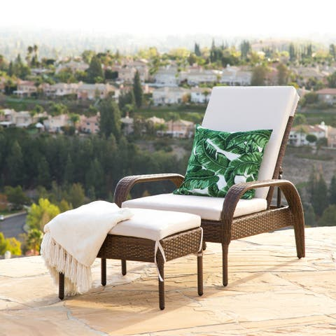 Abbyson Palermo Outdoor Wicker Chaise Ottoman Set with Cushion