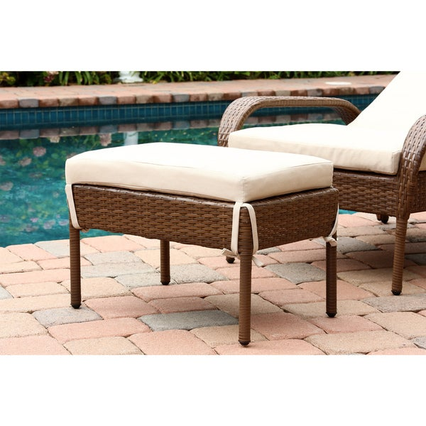 Abbyson Palermo Outdoor Wicker Chaise Ottoman Set   Free Shipping Today    Overstock.com   16437742
