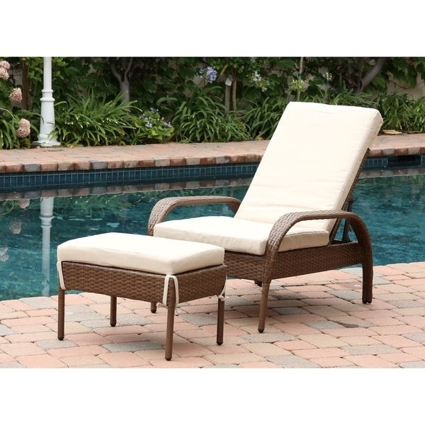Charming Abbyson Palermo Outdoor Wicker Chaise Ottoman Set