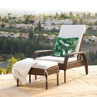 Abbyson Palermo Outdoor Wicker Chaise Ottoman Set