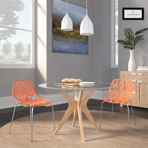 LeisureMod Asbury Orange Open Back Chrome Dining Side Chair set of 2