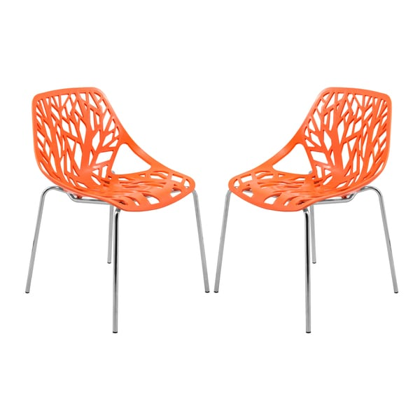 LeisureMod Asbury Modern Orange/ Chrome Dining Chairs (Set of 2)