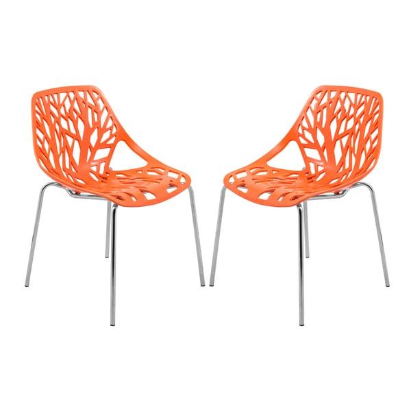 Marvelous LeisureMod Asbury Orange Open Back Chrome Dining Side Chair Set Of 2