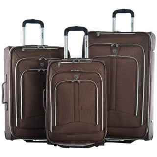 Olympia Hamburg Brown 3-piece Expandable Rolling Luggage Set