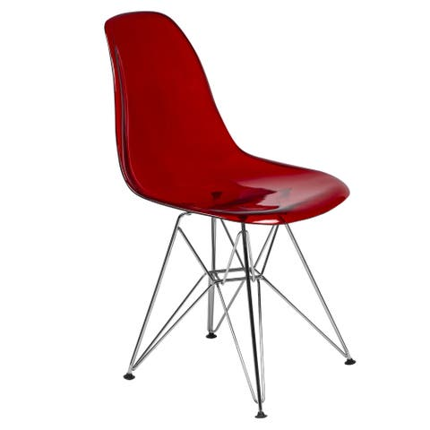 LeisureMod Cresco Red Eiffel Chrome Base Dining Side Chair
