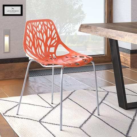 LeisureMod Asbury Modern Open Back Chrome Dining Side Chair