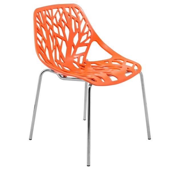 LeisureMod Asbury Modern Orange/ Chrome Dining Chair