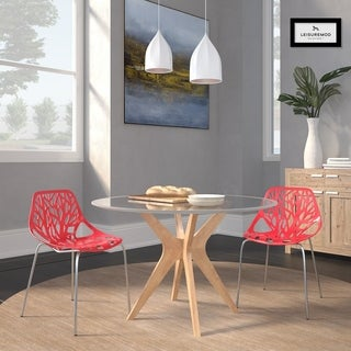LeisureMod Asbury Modern Red/ Chrome Dining Chairs (Set of 2)