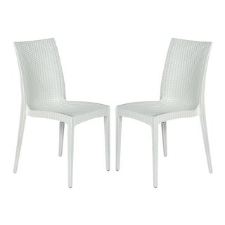 LeisureMod Weave Mace Indoor Outdoor White Dining Chair Set of 2