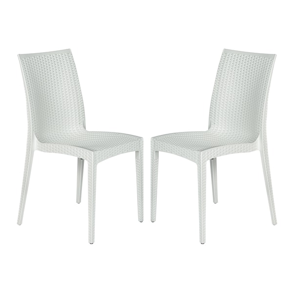 Merveilleux LeisureMod Weave Mace Indoor Outdoor White Dining Chair Set Of 2