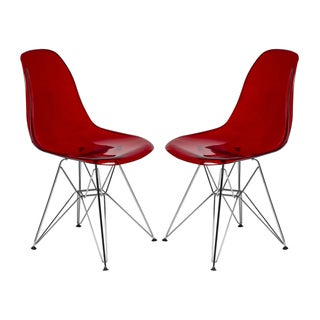 LeisureMod Cresco Transparent Red Eiffel Side Chair (Set of 2)