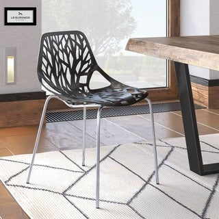 LeisureMod Asbury Modern Black Dining Chair with Chrome Legs