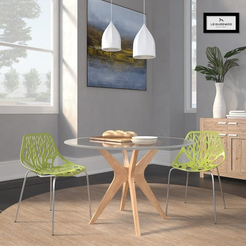 LeisureMod Asbury Green Open Back Chrome Dining Side Chair Set of 2