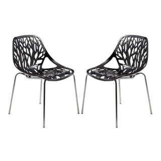 LeisureMod Asbury Modern Black/ Chrome Dining Chairs (Set of 2)