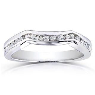 Annello by Kobelli 14k White Gold 1/4ct TDW Diamond Ladies Contoured Wedding Band (H-I, I