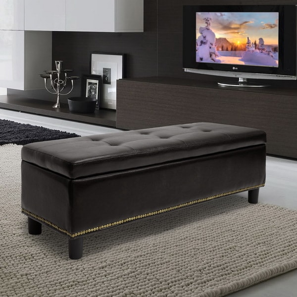 Exceptionnel Baxton Studio Lucero Bonded Leather Storage Dark Brown Ottoman