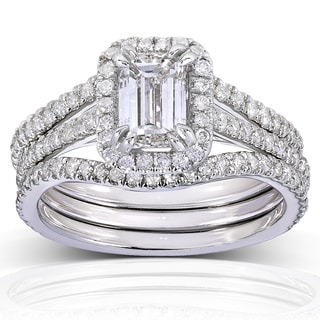 Annello by Kobelli 14k White Gold 1 3/4ct TDW Emerald-cut Halo Diamond 3-piece Bridal Set