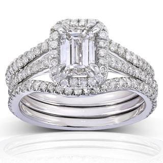 Annello 14k White Gold 1 3/4ct TDW Emerald-cut Halo Diamond 3-piece Bridal Set (H-I, I1-I2)