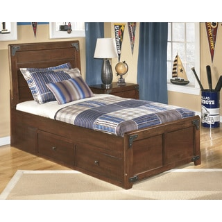 Delburne Medium Brown Panel Bed Set with Storage Pedestal