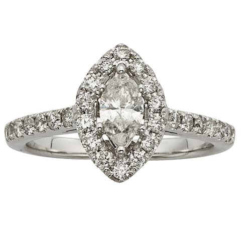 Sofia 14k White Gold 1ct TDW IGL Certified Marquise-cut Diamond Engagement Ring