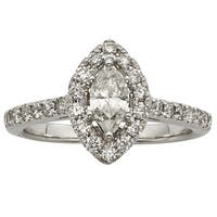 Sofia 14k White Gold 1ct TDW IGL Certified Marquise-cut Diamond Engagement Ring