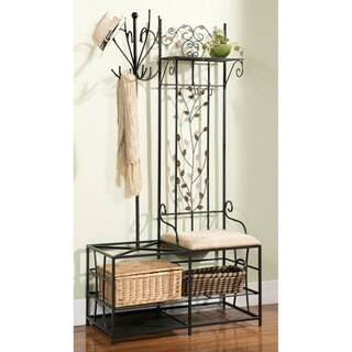 Metal Half-tree Design Coat Rack and Bench with Storage