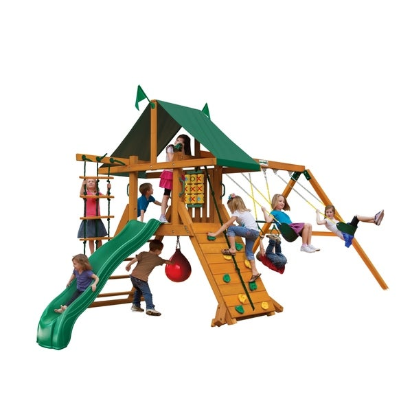 Shop Gorilla Playsets High Point Wooden Swing Set With Punching Ball