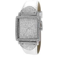 Peugeot Women's Couture J5667WT Crystal Case White Leather Watch