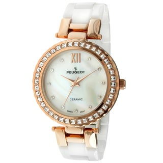Peugeot Women's PS4881RG T-bar Ceramic Austrian Crystals White Rose Goldtone Watch