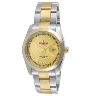 Peugeot Women's PS4911TT Swiss Two-tone Roman Numeral Gold Dial Watch