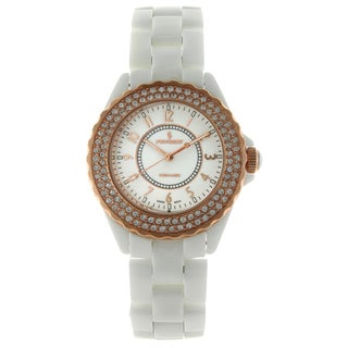 Peugeot Women's PS4880WRG Swiss White Ceramic Rose Goldtone Austrian Crystal Bezel Watch