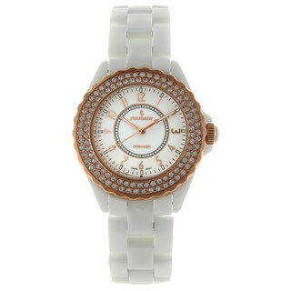 Peugeot Women's G Swiss White Ceramic Rose Goldtone Austrian Crystal Bezel Watch