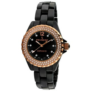 Peugeot Women's Swiss Black Ceramic Rose Goldtone Crystal Watch