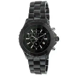 Peugeot Men's PS968 Black Ceramic Crystal Accent Chronograph Watch