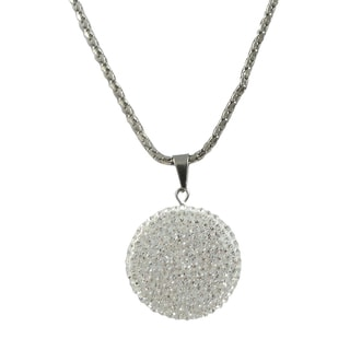 Luxiro Stainless Steel Crystal Circle Pendant Necklace